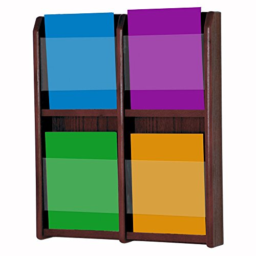 Wooden Mallet 4-Magazine Divulge Wall Display, Mahogany Mahogany Wall Magazine Holder