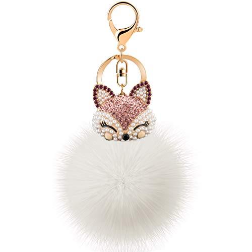 JOUDOO Rabbit Ball Keychain with Rhinestone Fox Head Keyring GJ-001 (White 1)