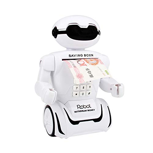 nuochimaoyi Purifier Robotic Piggy Bank, Creative Robot Electric Toy Music Table Lamp Interactive Robot Savings Tank (White)