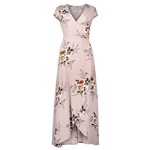 Moulant Haute Maxi Plage Longue Crois Casual Party Fille Mode Robe Femme Floral Sans Bold Dress Manche Jupe Shirt Imprim Confort Rose Manner Fente vwSqgT6