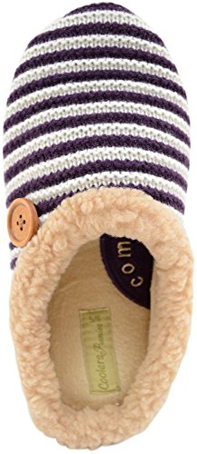 Ladies / Womens Knitted Style Mules / Slippers / Indoor Shoes with Button Design Plum irWkqKAu
