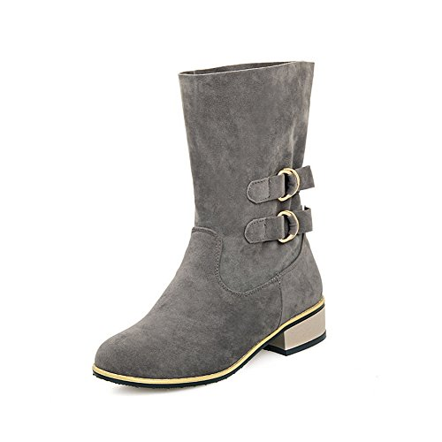 A Multilayer Heels N Damen Metall Ornament Strap Grey Metal Square Boots Frosted IxTTRtrw