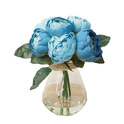 Dusty Blue Silk (Iuhan1 Bouquet 6 Heads Artificial Peony Silk Flower Leaf Home Wedding Party Decor)