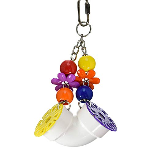 Super Bird Creations SB751 PVC Forager Bird Toy with Colorful Birds & Flowers, Large Size, 3