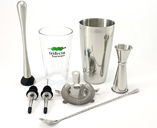 "– 7 Piece Essential Barware Kit with Stainless Steel Boston Shaker Tin, Pint Glass, Double Jigger, Hawthorne Strainer, 11"" Bar Spoon, Muddler and 2 Speed Pours ()"