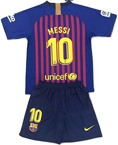 Messi #10 FC Barcelona 2018-2019 Youths/Kids Home Soccer Jersey & Shorts (9-10 Years Old) (Fc Barcelona Jersey Kids)