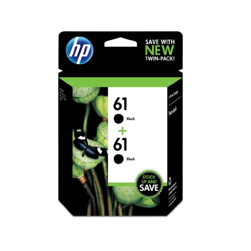 HP 61 Black Original Ink Cartridges, 2 pack (CZ073FN)
