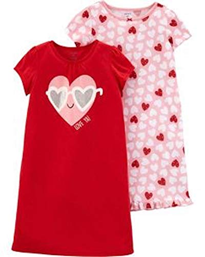Carter's Little Girls' 2 Pack Knee Length Nightgowns (2-3, Pink Hearts) (Valentines Carters Shirt)