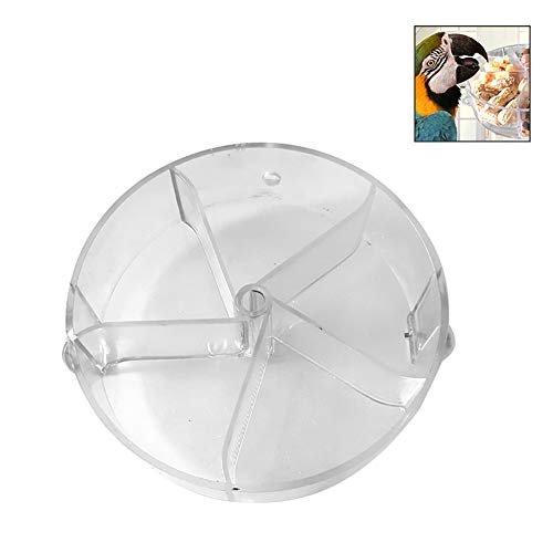 CqmzpdiC Durable, Food Container, Rotating, Parrot Feeding Device Pet Bird Parrot Cage Feeding Bowl Toy Rotating Round Bite Wheel Plastic Food Box - Transparent