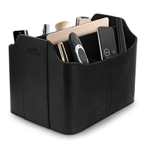 Londo Leather Remote Control Organizer and Caddy with Tablet Slot (Black) (Leather Control Organizer Remote)