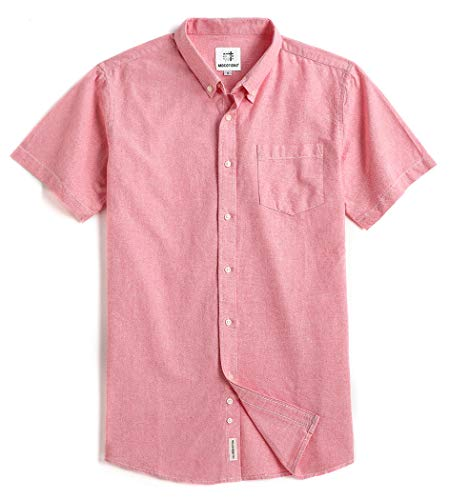 (Men's Short Sleeve Oxford Button Down Casual Shirt XX-Large Pink)