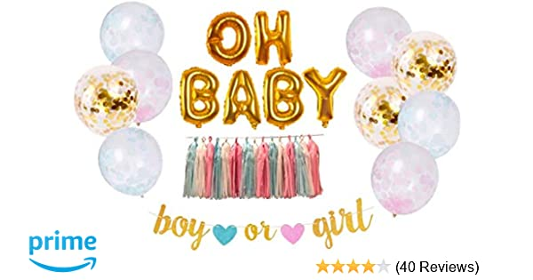 6d4c10babb654 megbee Gender Reveal Party Supplies | Baby Shower Decorations Party Kit |  Twin Boy and Girl | Baby Announcement - OH Baby Foil Balloons, Confetti  Balloons, ...