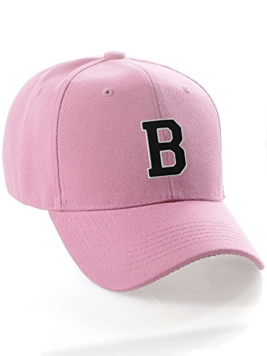 96cd27ccd47e3 Classic Baseball Hat Cap Custom A-Z Initial - Pink Hat with White Black  Letter