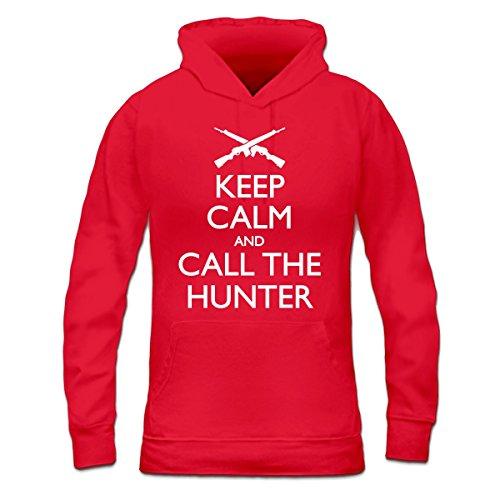 Sudadera con capucha de mujer Keep Calm And Call The Hunter by Shirtcity Rojo