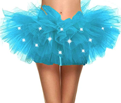Adult's LED Light Up 5 Layered Tulle Tutu Mini Skirt, Sky Blue