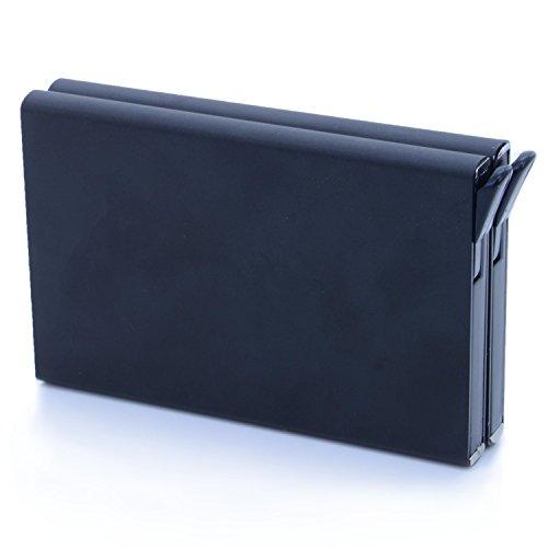 12 Pocket Credit Wallet (RFID Blocking Aluminum Credit Card Money Clip Automatic Pop Up Slide Out Front Pocket Wallet Holds 12 Cards(Model01-Black))
