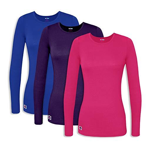 Sivvan 3 Pack Women's Comfort Long Sleeve T-Shirt/Underscrub Tee - S85003 - RFP - -