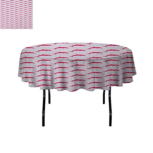 DouglasHill Dolphin Waterproof Anti-Wrinkle no Pollution Dolphin Pattern with Marine Aqua Inspired Image Sea Animals Collection Table Cloth D70 Inch Vermilion Pale Pink