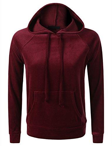 (7Encounter Women's Velour Pull Over Hoodie With Kangaroo Pocket Sweatshirt Burgundy Small)