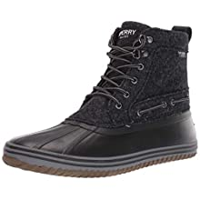 Sperry Mens Huntington Duck Boot Boots, Black Wool, 10