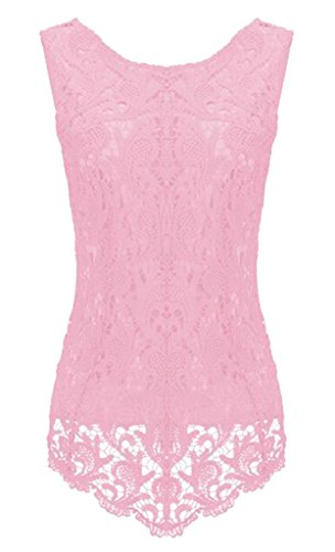 Sumtory Women's Lace Blouse Sleeveless Embroidery Tops Vest Shirt Blouse – Small, Pink