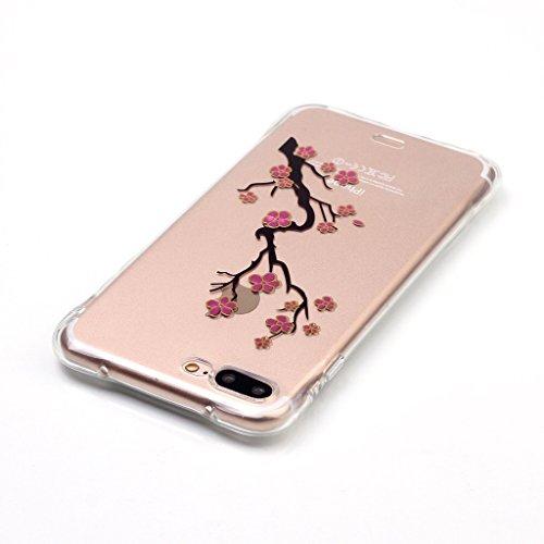 """Pflaumenblüte Drucken Design weich Silikon TPU schutzhülle Hülle für Apple iPhone 7 Plus 5.5"""" (5,5''),Premium Handy Tasche Schutz Case Cover transparent Crystal Bumper Schale für Apple iPhone 7 Plus 5"""