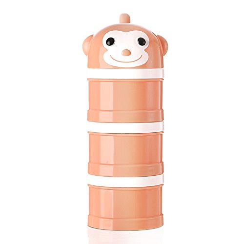 Formula Dispenser, Stackable Portable 3 Compartments Milk Powder Dispenser & Snack Container by Udaone-with Handle & 3 Funnel Lids/ 360ML 0M+ (Orange Monkey)