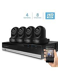 Amcrest Sistema de cámara de seguridad con 4K 8CH NVR, x 2 megapíxeles domo WiFi IP cámaras, Pan Tilt vigilancia, audio bidireccional