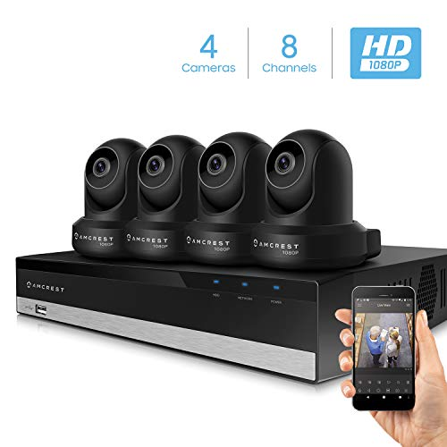 Amcrest 2MP Security Camera System w 4K 8CH NVR, 4 x 2-Megapixel Dome WiFi IP Cameras, Pan Tilt Surveillance, Two-Way Audio, NV2108-IP2M-841B4 Black