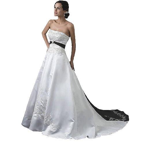white an black wedding dresses