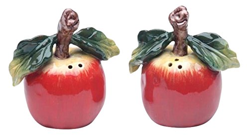CG 10230 Red Apple with Stem & Leaf Salt & Pepper 2Piece Set Collectible