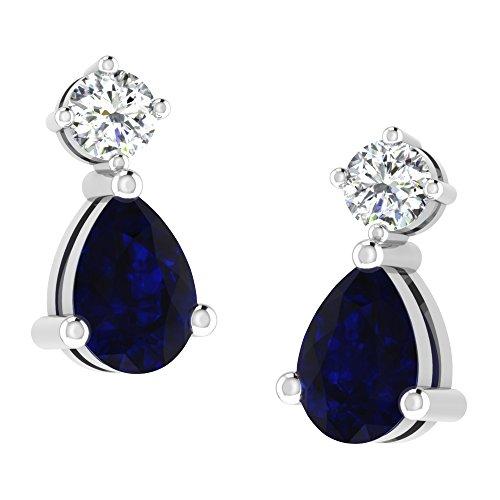 Libertini Boucle d'oreille argent 925 plaque or Jaune serti de Diamant et Saphir en fArgentme de Tomber