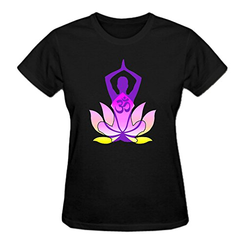 9fed35bb524 Perfectby Womens Short Sleeve Comfot Om Namaste Lotus Flower Yoga T Shirts  Black