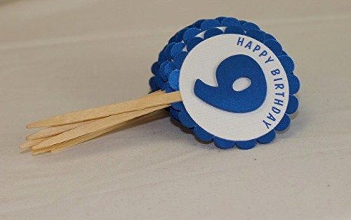 All About Details Shimmer Blue 9th Birthday Cupcake Toppers, Set of 12 by All About Details (Image #1)