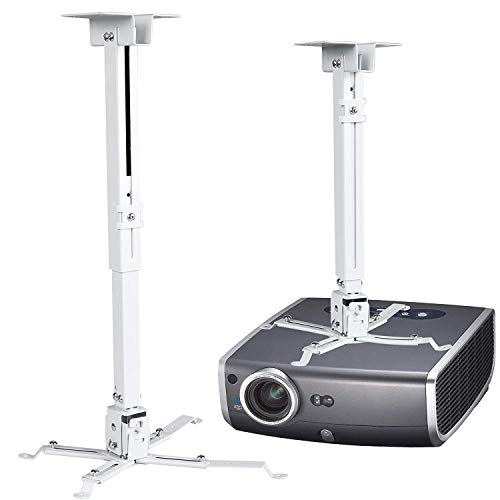 Evokem Universal Projector Wall Ceiling Overhead Mount, Adjustable Height Bracket Rack Holder LCD DLP for Epson, Optoma, Benq, ViewSonic Projectors, 44lb Load Capacity (White)