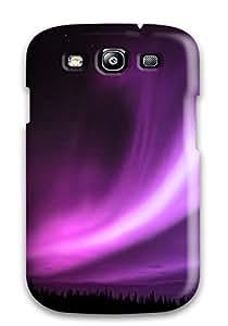 Galaxy S3 Case Cover Purple Aurora Borealis Case - Eco-friendly Packaging