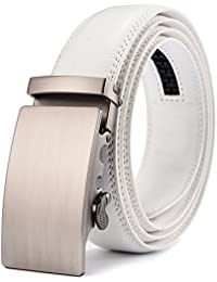 Men's Solid Buckle with Automatic Ratchet Leather Belt...