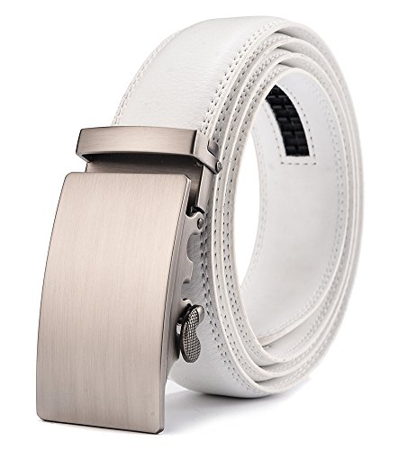 (Xhtang Men's Solid Buckle with Automatic Ratchet Leather Belt 35mm Wide 1 3/8