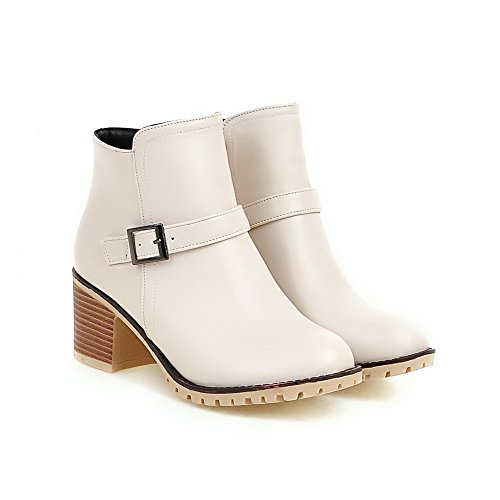 AmoonyFashion Womens Kitten-Heels Solid Closed Round Toe Soft Material Zipper Boots Beige QX11e7yCm