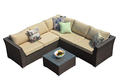 Direct Wicker 4pc Patio Sectional Furniture PE Wicker Rattan Sofa Set Deck Couch Outdoor For Sale