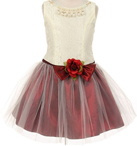 Big Girls' Adorable Lace Pearl Taffeta Tulle Mesh Flowers Girls Dresses Burgundy Size 8