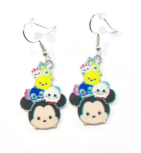 Disney inspired TSUM TSUM Mickey Mouse Stitch Pooh Donald Duck Metal Enamel Character Drop Dangle Hook Earrings With Gift Box (Duck Dangle Donald)