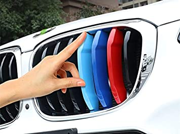 TOPGRIL M-Colored Stripe Grille Insert Trims M-Performance Sport Grille Insert Trim Strips for 2004-2010 BMW E60 5 Series 525i 528i 530i 535i 540i 545i 550i M5 Front Kidney Grilles 11 Beams ONLY