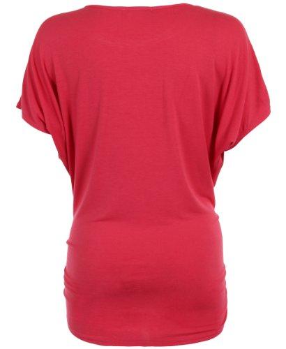 KRISP Womens Oversized Top Jersey T Shirt Batwing Short Sleeve Animal Print Long(Coral,14)