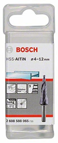 Bosch 2608588065 Step Drill Bit HSS-AlTin 4/5 / 6/7 / 8/9 / 10/11 / 12, Silver, 4-12 mm
