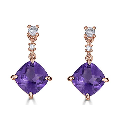 14K Gold Natural Amethyst Dangle Earrings with Certified Diamonds - February Birthstone (Rose-Gold)