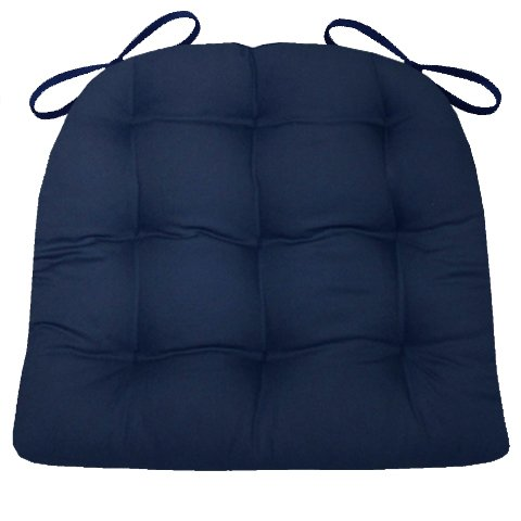 Dining Chair Pad with Ties - Navy Blue Cotton Duck Solid Color - Standard Size - Reversible, Tufted Cushion, Latex Foam Fill - Made in USA (Navy Dining Chair Cushions)