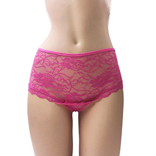 MidLove Women's Plus Size Sexy Lace Crotch-less Panties M-5XL Panty (XXX-Large, Pink)