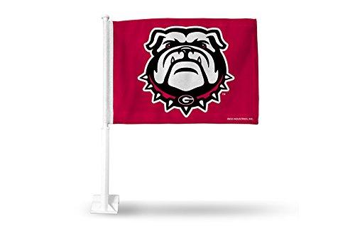 (NCAA Georgia Bulldogs Car Flag, Red, with White Pole)