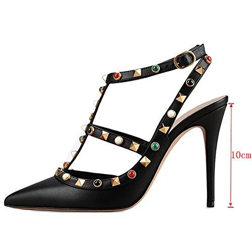 EKS - Zapatos de vestir para mujer 46 negro mate